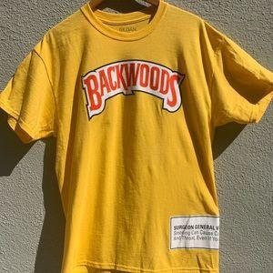 BACKWOODS T-shirt Yellow Crewneck Size Large